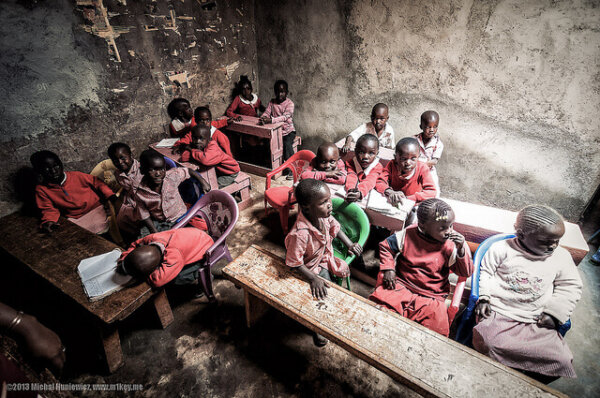 kids in african school house