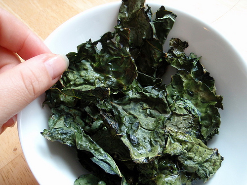 A bowl of kale chips