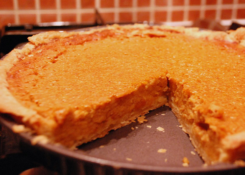 Sweet potato pie with beautiful orange color