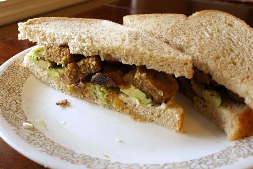 Field Roast sausage sandwich
