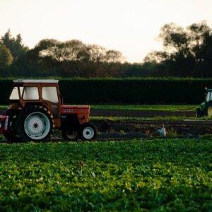tractors sunset