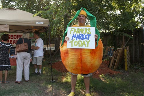 guy wearing peach costume