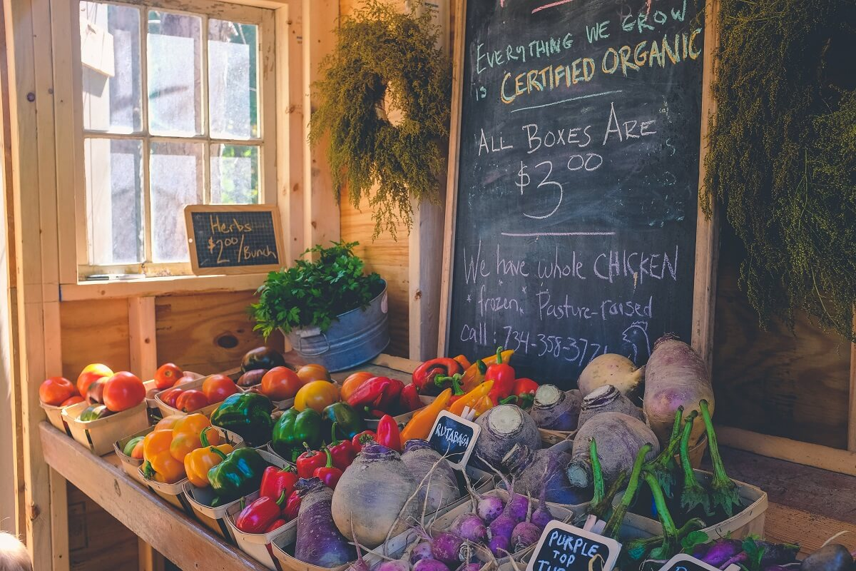 organic produce stand