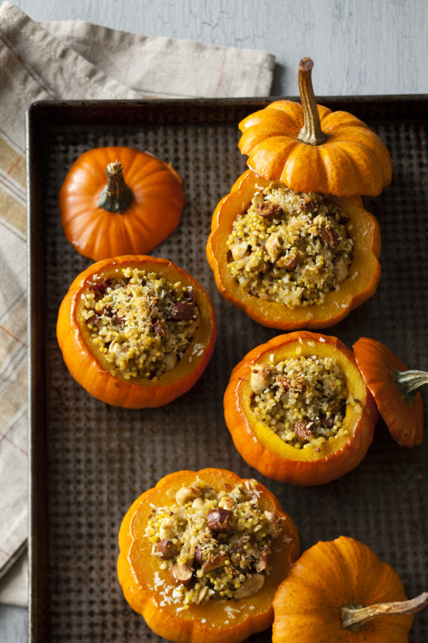 Nutty Curry-Stuffed Squashes from Big Vegan are a perfect vegan Thanksgiving main dish!