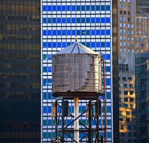 Old wooden water tower in New York City
