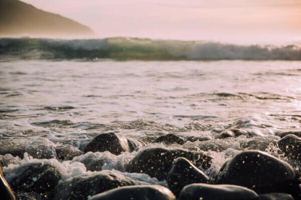water near rocks