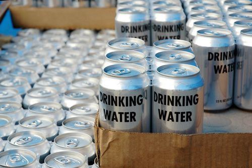 Cans of Drinking Water for Disaster Relief