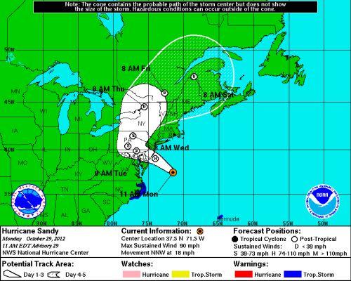 Hurricane Sandy Path 29 10 2012