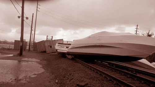 Hurricane Sandy Boats on Long Island RR