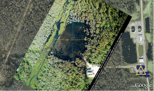 Louisiana Sinkhole 12 Oct 2012 Dimensions
