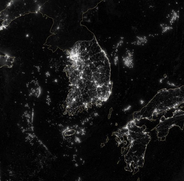Korea and the Yellow Sea at Night zoom