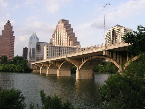 Congress Avenue Bridge in Austin, Texas spans the Colorado River