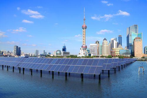 Shanghai Bund skyline solar panel plant