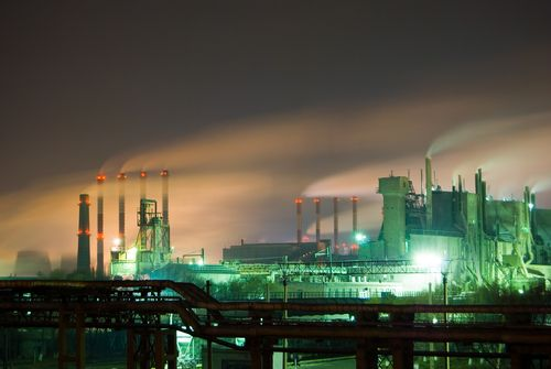 Nuclear power plant in Japan at night