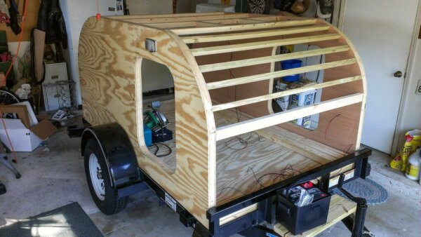 completed tear drop trailer frame