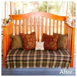 finished porch swing