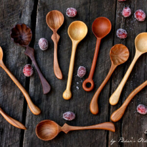 Handmade wooden serving spoons