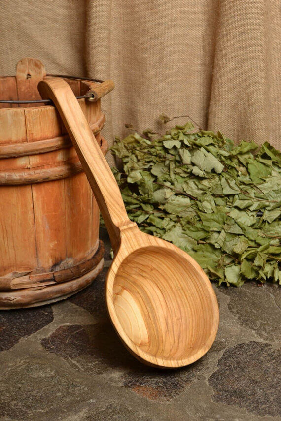 Large wooden ladle