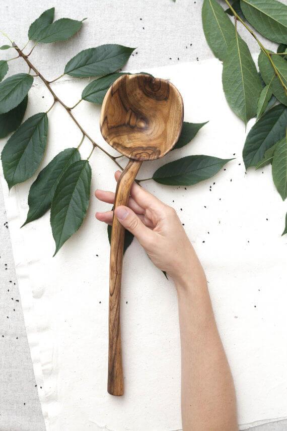 Large wooden soup ladle