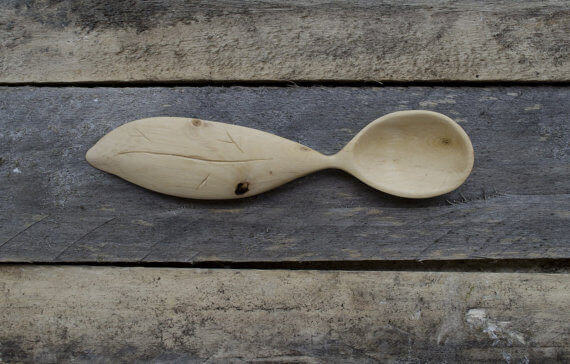Wooden Leaf Carving Spoon