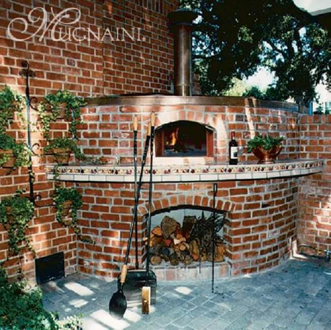 Brick Oven With Magnaini Kit Interior. Outdoor Pizza Oven