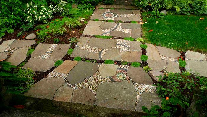 pebble mosaic path