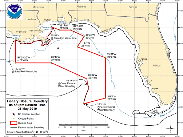 Deepwater Horizon Oil Spill Fishing Closure 2010-05-25