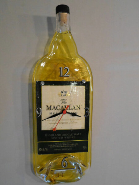 Recycled The MACALLAN single Highland malt scotch whisky -melted bottle wall clock -Gift for him