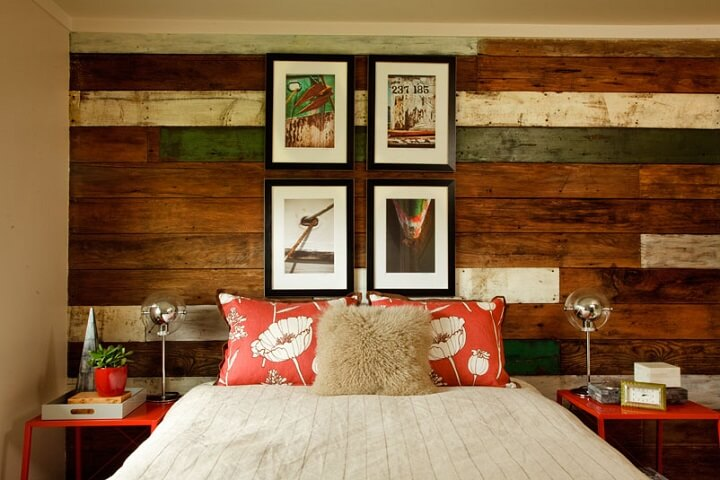 salvaged wood on walls