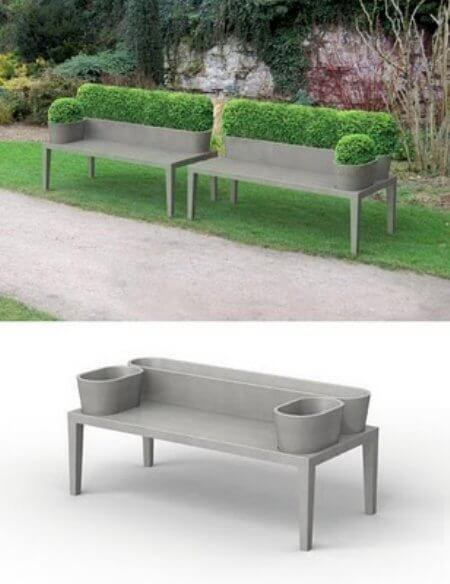bench with hedge for back