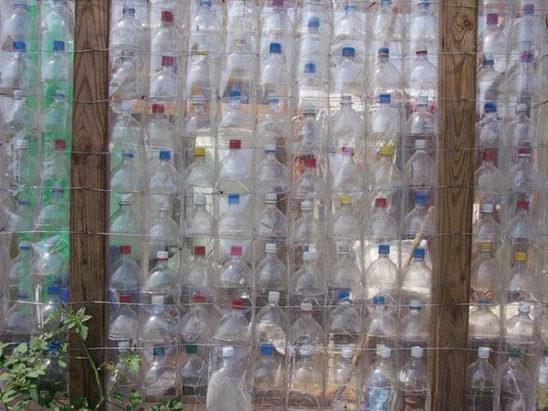 plastic bottle wall