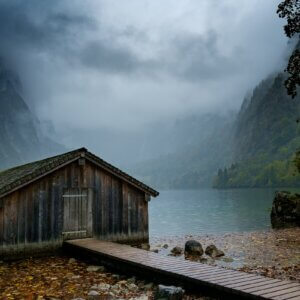 misty boathouse