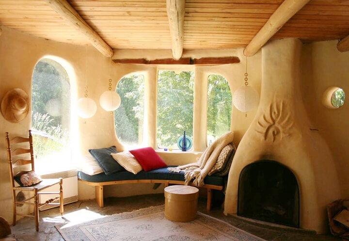 interior of a cob home