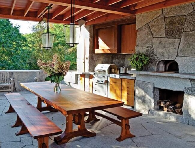 Outdoor stone oven insteading for Wooden camp kitchen designs