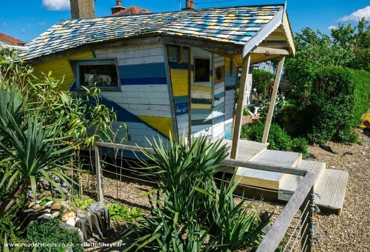 shed of the year salvaged wood beach hut