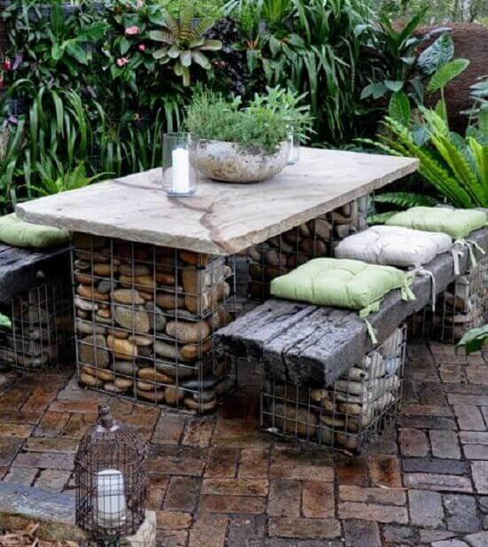 stone gabion seat