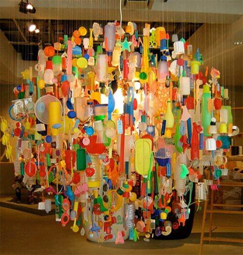 plastic trash chandelier