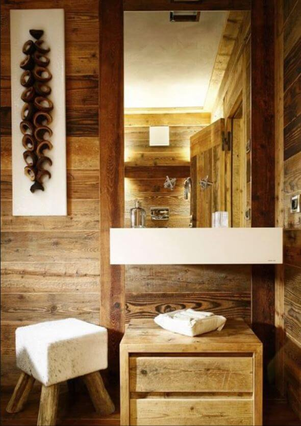 salvaged wood on walls