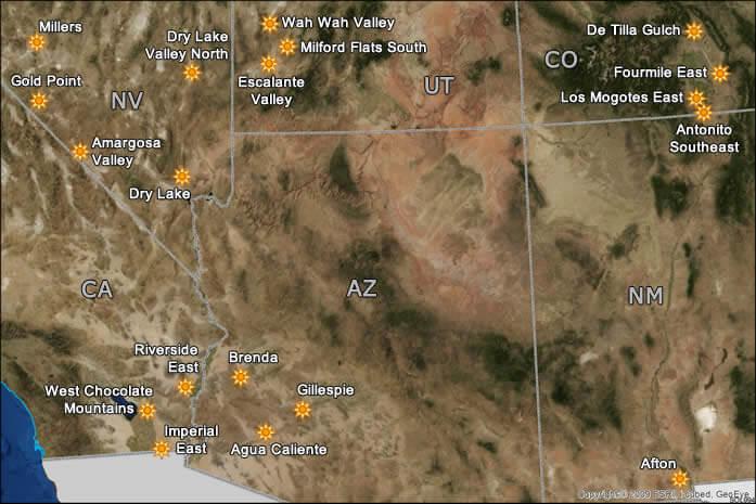 Solar Energy Zones identified by the U.S. Bureau of Land Management