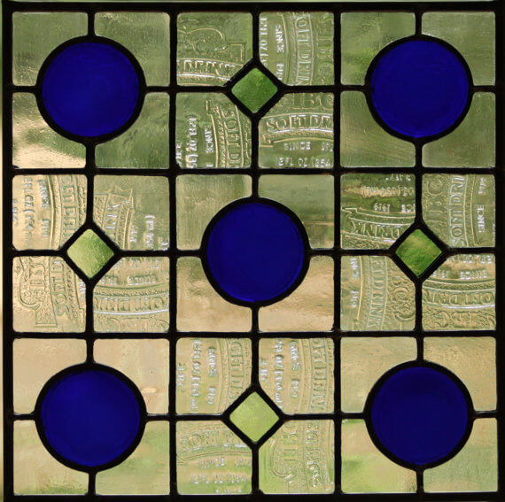 recycled bottle glass leaded stained glass window panel shown in two sizes