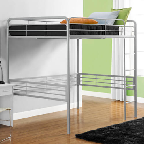 DHP Full Metal Loft Bed With Built In