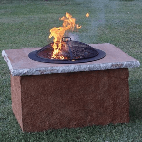 Offered in black, white, and brown, this 2-piece option is durable and sturdy made from a concrete mix which houses the metal fire pit. Photo via Makrete.