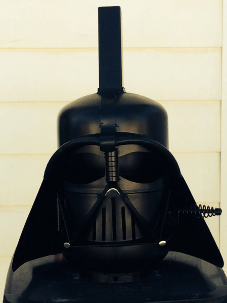 Join the Dark Side with this Star Wars inspired Darth Vader fire pit. Photo via CalgaryCreativeWork.