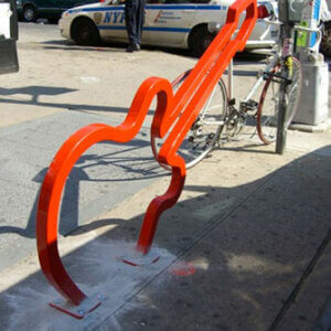 Guitar shaped bike rack in NYC