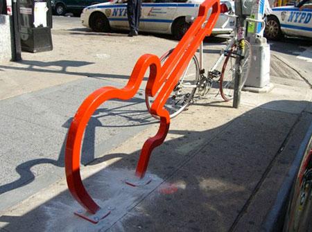 Guitar shaped bike rack in NYC