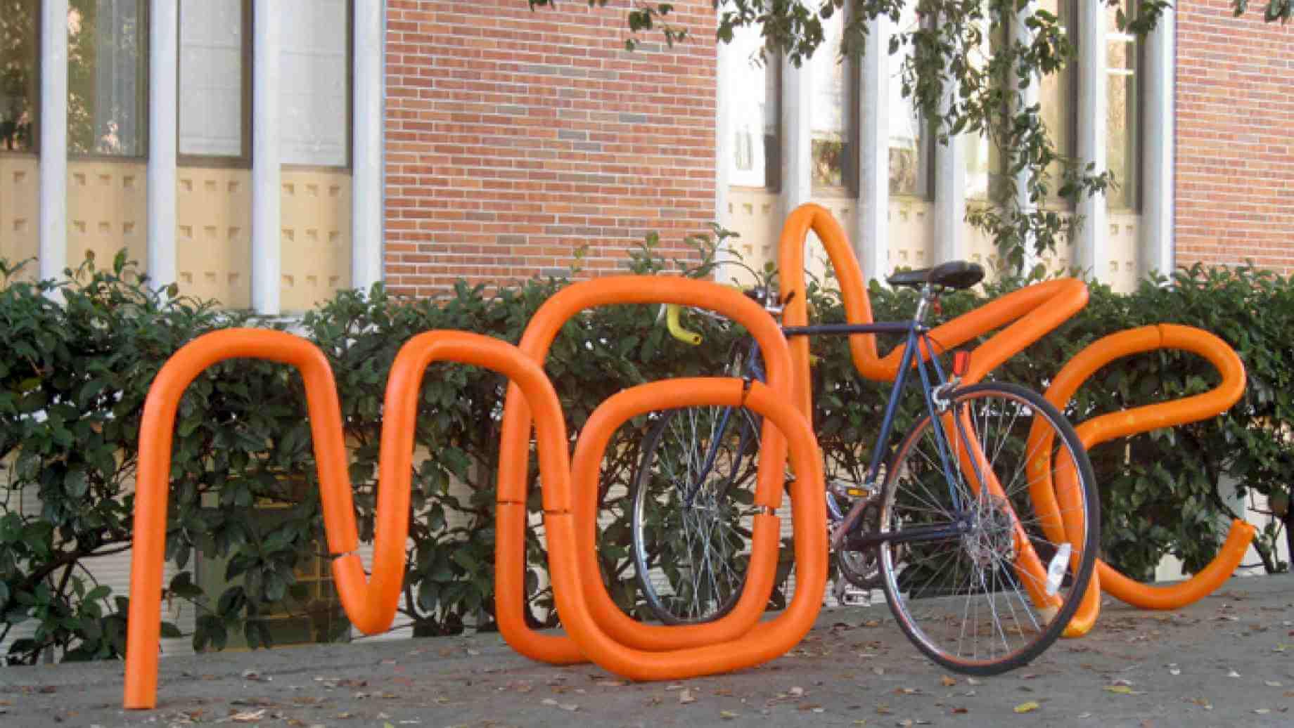 """""""Make"""" shaped bike rack"""