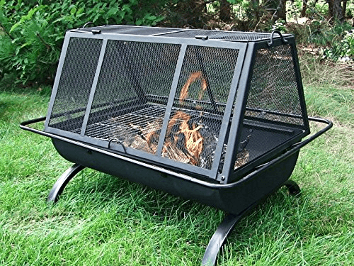 Enjoy both a fire and a grill with this screened-in option. Photo via Sunnydaze Decor.