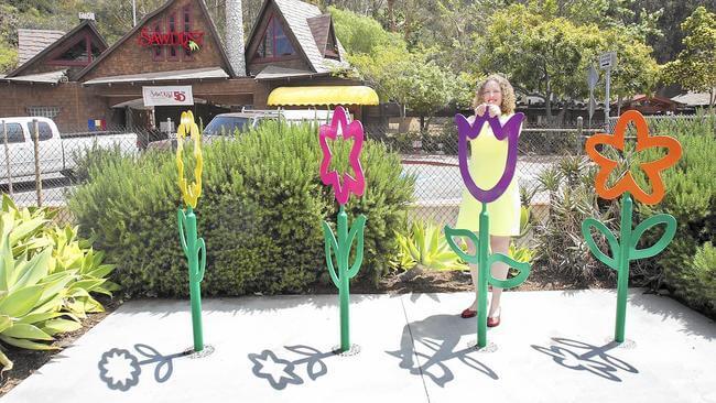 Laguna Beach keeps it light with flowered bike racks for public use near the beach.