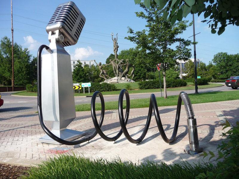 Microphone shaped bike rack.