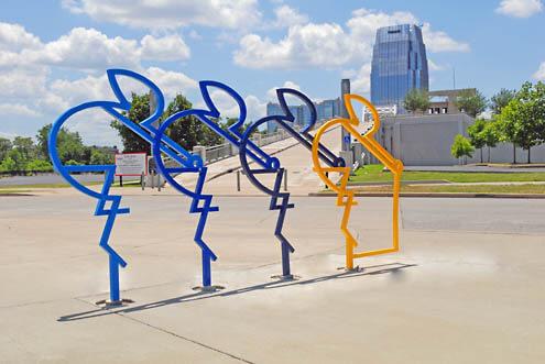 """The Riders"" bike rack in Nashville"
